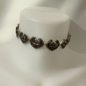 Squash gold silver tone western necklace choker